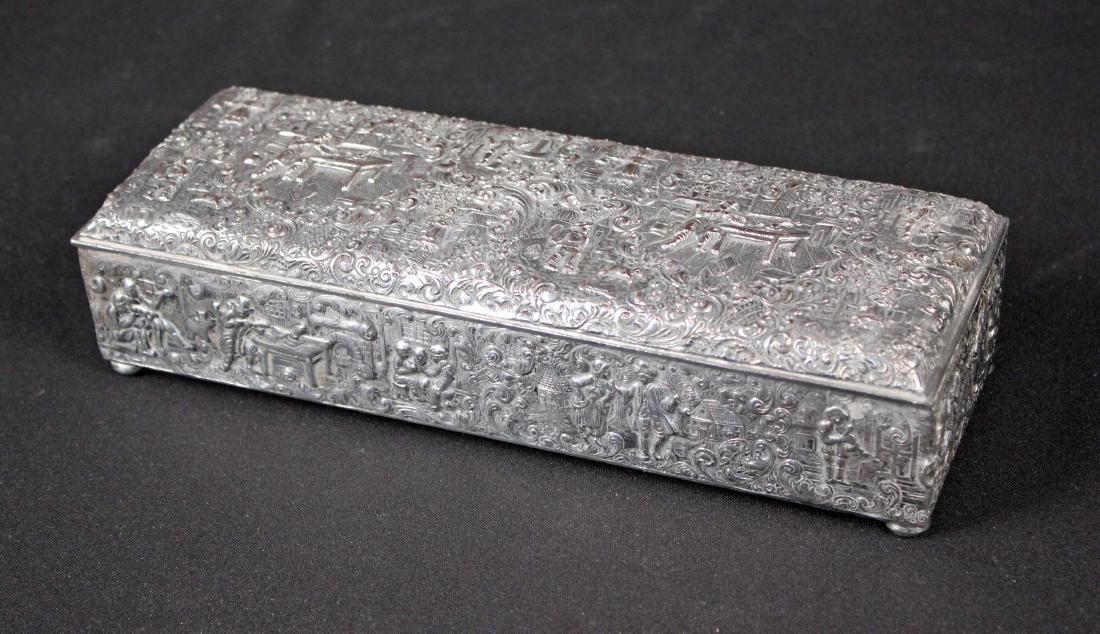 Silverplate Cigar Box W/ Colonial Tavern Scenes