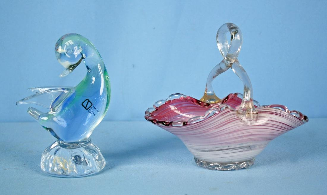 Two Pcs. Venetian Glass W/ Murano Duck & Basket