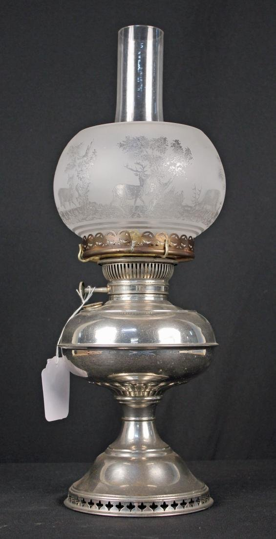 Rayo Nickel Plated Oil Lamp W/ Stag Etched Shade