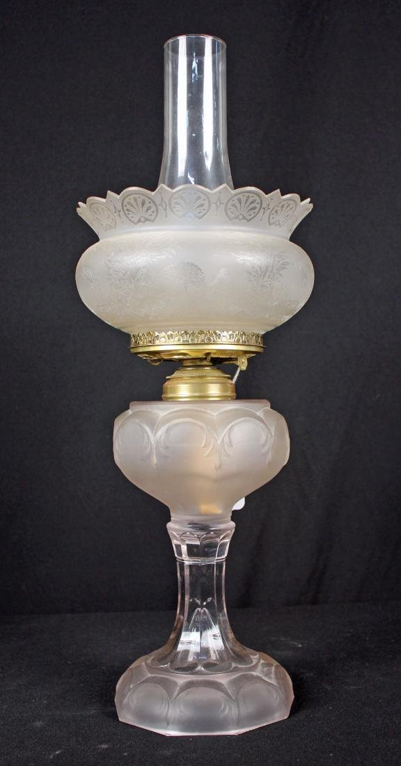 Oil Lamp W/ Satin Glass Font & Etched Shade