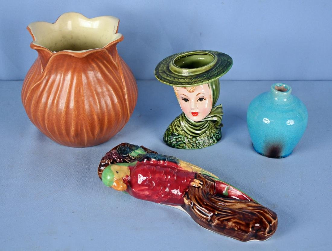 4 Pcs Pottery Incl. Pisgah Forest / Head Vase