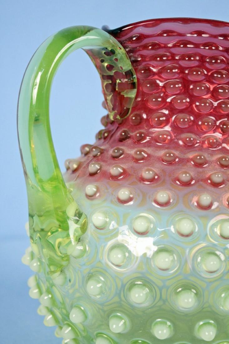 Hobbs Rubina Verde Opalescent Cranberry Pitcher - 2
