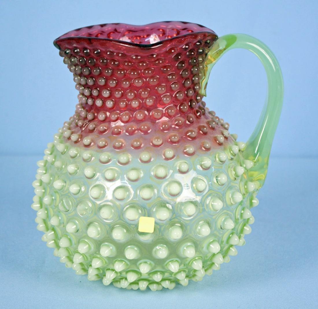 Hobbs Rubina Verde Opalescent Cranberry Pitcher - 3