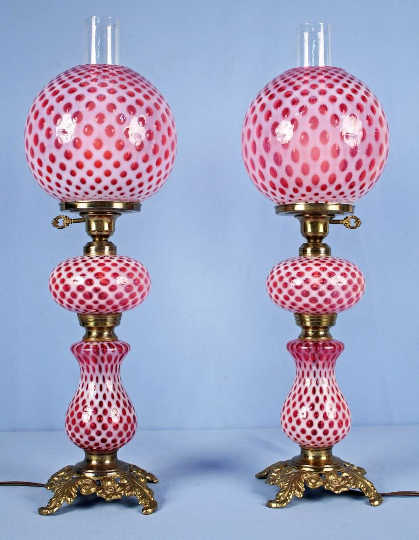 Pair of Fenton Coin Dot Cranberry Opalescent Lamps