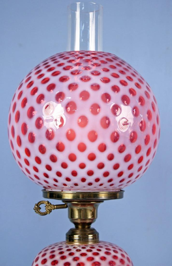 Pair of Fenton Coin Dot Cranberry Opalescent Lamps - 2