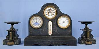 Le Roy French Marble Mantle Clock Set W/ Calendar