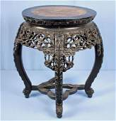 Chinese Carved Hardwood Table W Round Marble Top