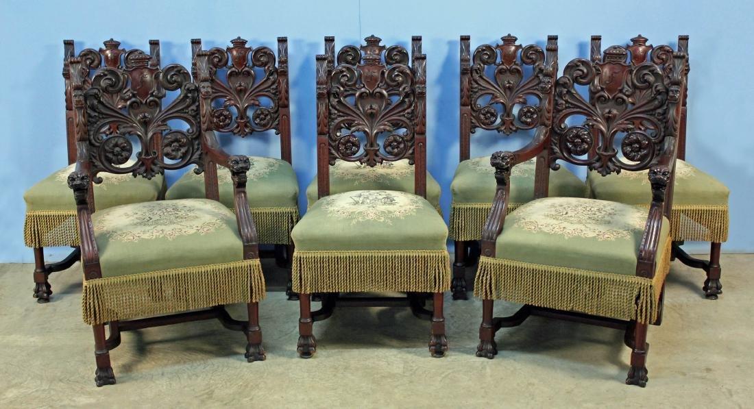 Eight Mahogany Dining Chairs Attrib. R.J. Horner