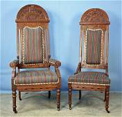 Pair of Carved Oak Deacons Chairs w Arched Crest
