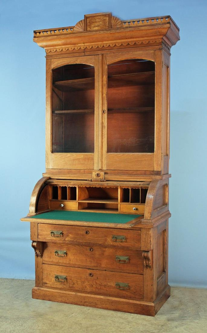 Walnut Victorian Cylinder Roll Desk