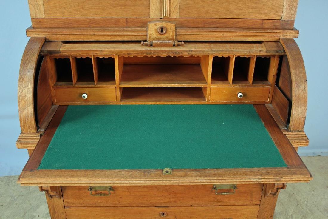 Walnut Victorian Cylinder Roll Desk - 2
