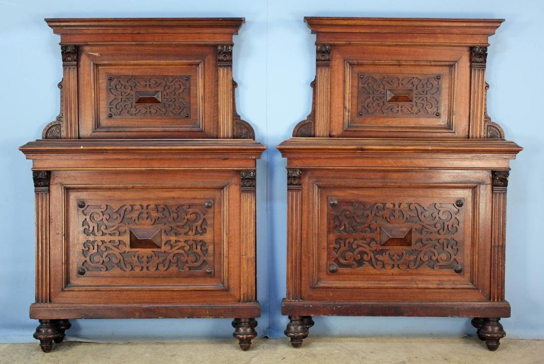 A Pair of Elizabethan Style Walnut Twin Beds