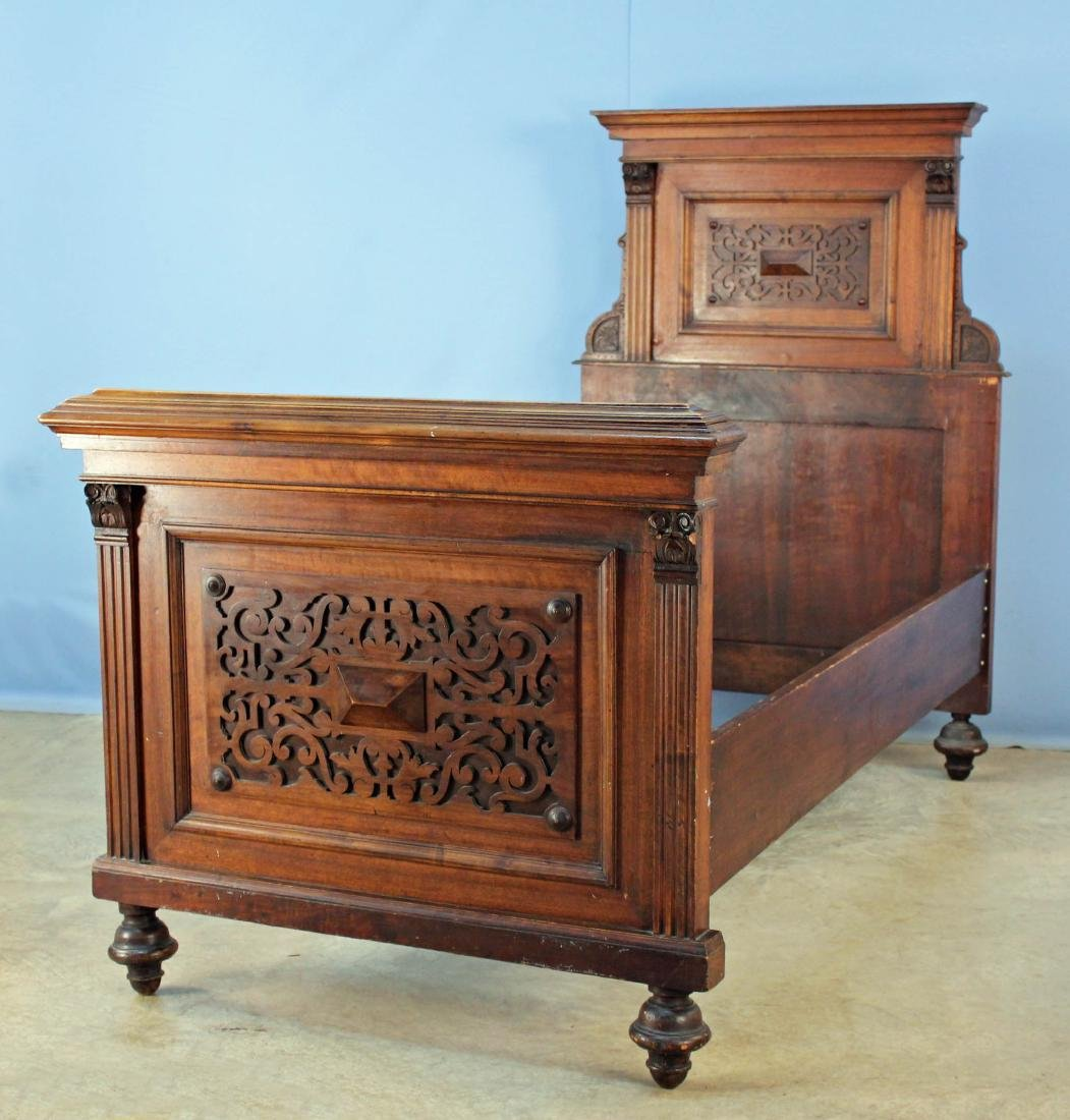 A Pair of Elizabethan Style Walnut Twin Beds - 2