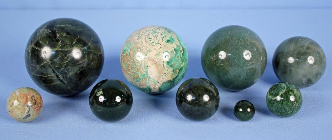 Group of (9) Green Mineral Spheres
