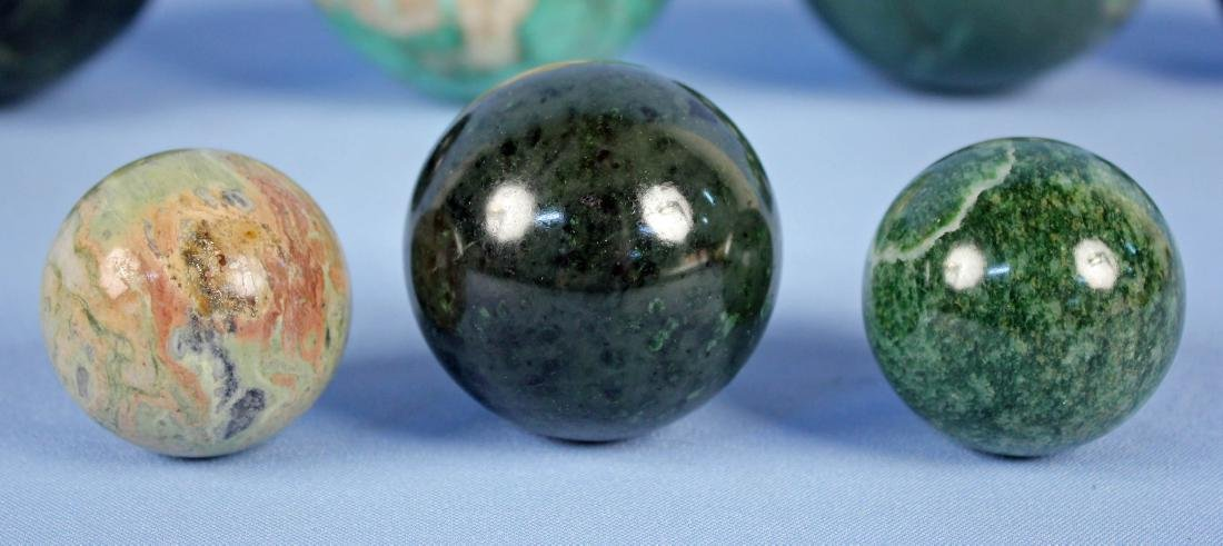 Group of (9) Green Mineral Spheres - 2