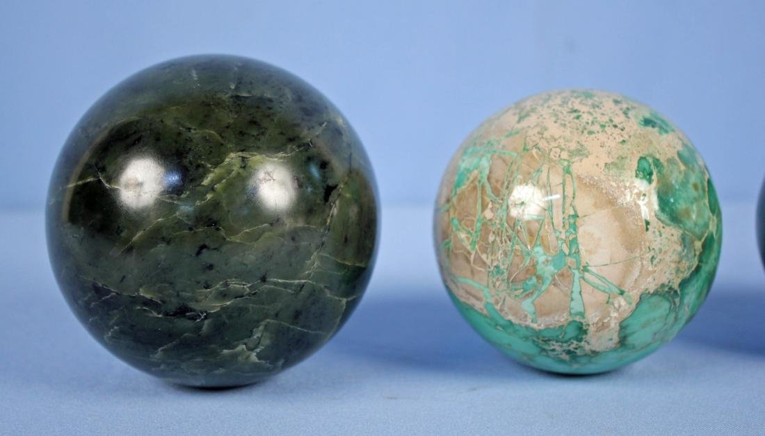 Group of (9) Green Mineral Spheres - 3