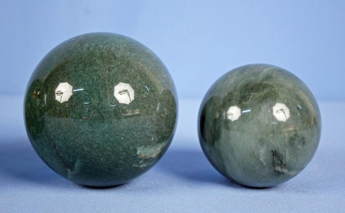 Group of (9) Green Mineral Spheres - 4