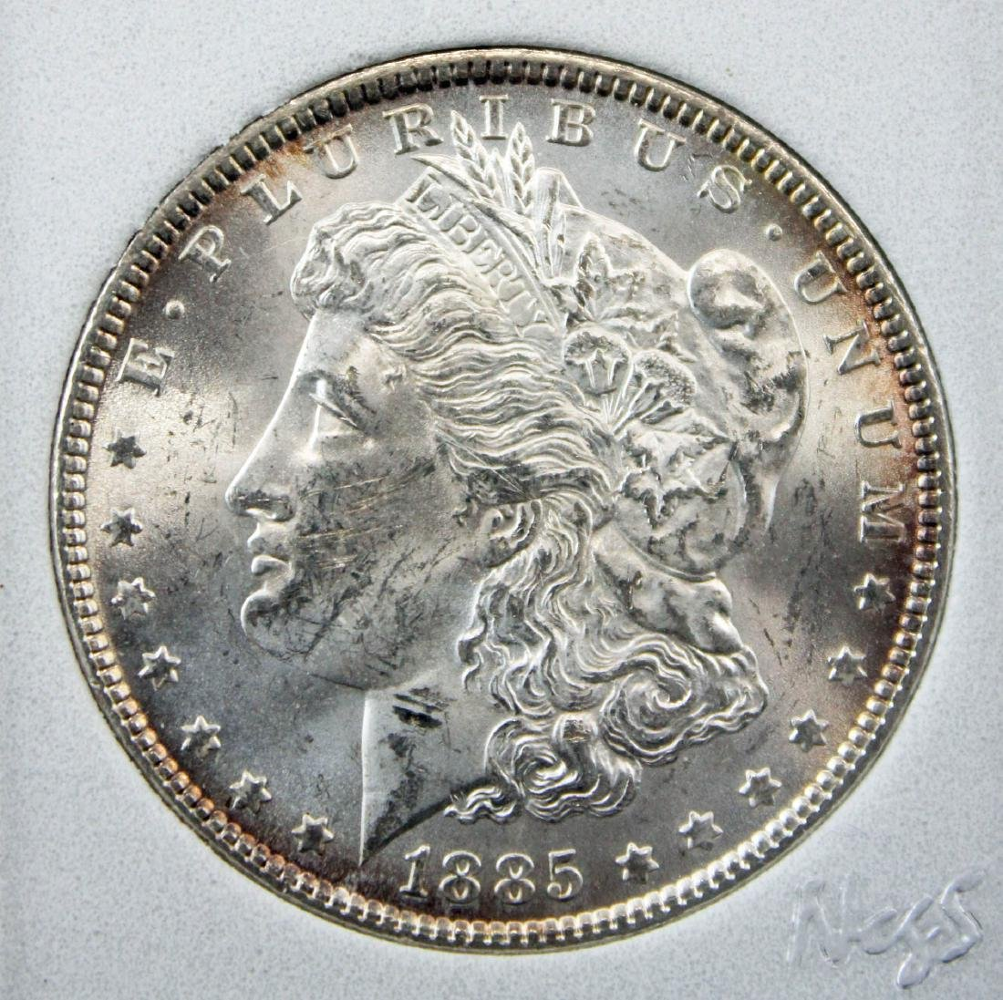 2 Morgan Silver Dollars 1878 S AU58 & 1885 P MS63 - 2