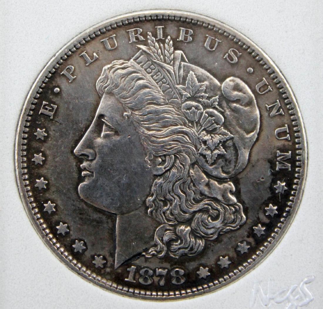 2 Morgan Silver Dollars 1878 S AU58 & 1885 P MS63 - 3