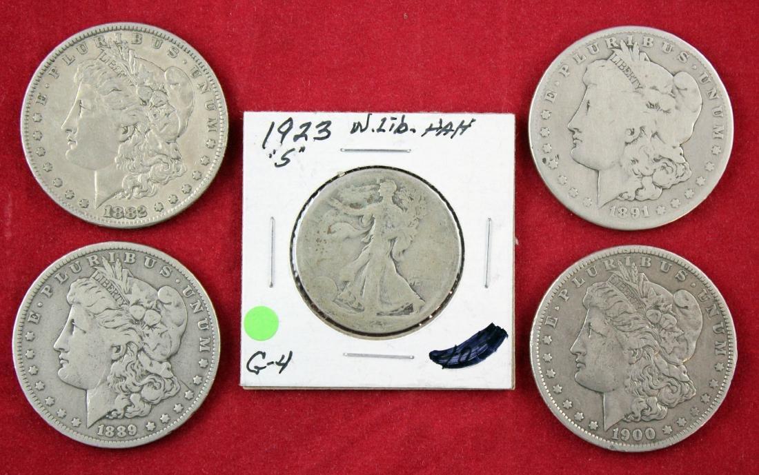 4 Morgan Silver Dollars & 1923 S Walking Liberty