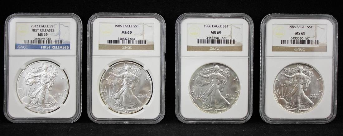 4 American Silver Eagles NGC MS 69 w/ 1st Release