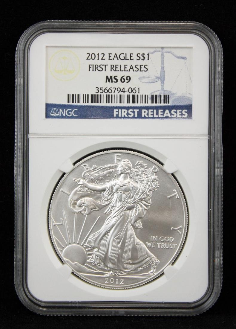 4 American Silver Eagles NGC MS 69 w/ 1st Release - 3