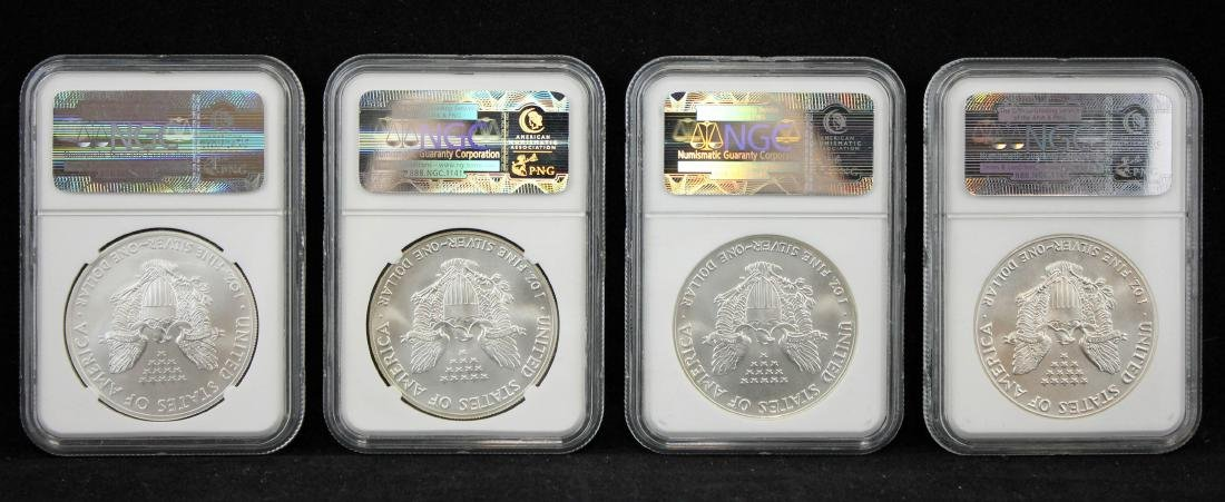 4 American Silver Eagles NGC MS 69 w/ 1st Release - 4