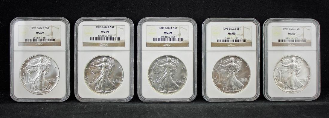 5  American Silver Eagles 1986 & 1995 NGC MS 69