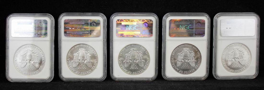 5  American Silver Eagles 1986 & 1995 NGC MS 69 - 4
