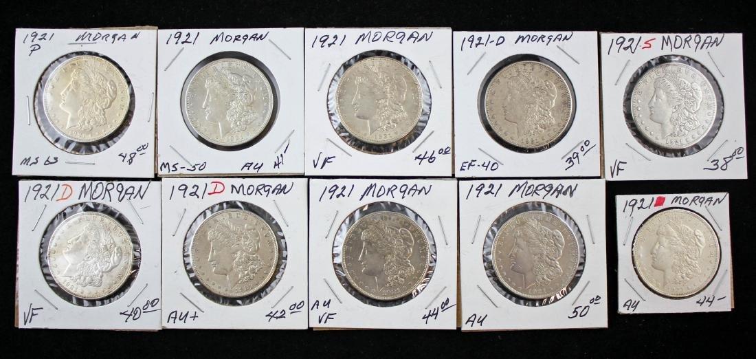 Ten 1921 Morgan Silver Dollars P, S, and D