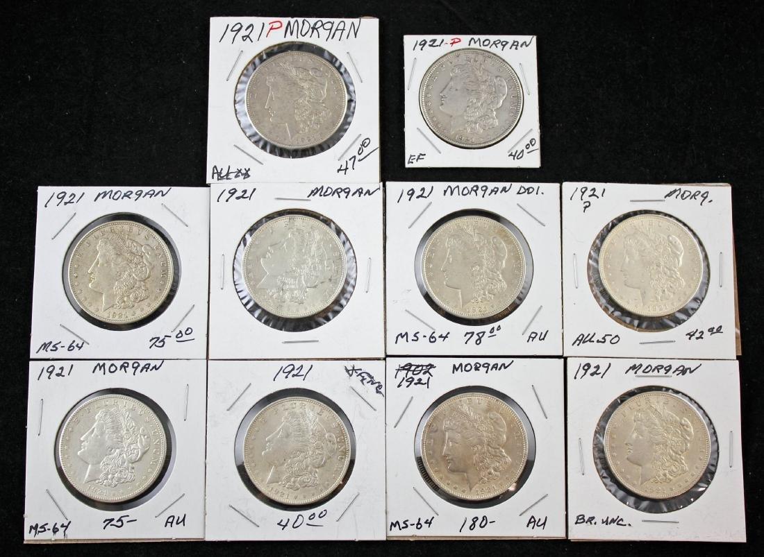 10 Morgan 1921 P Silver Dollars Various Conditions