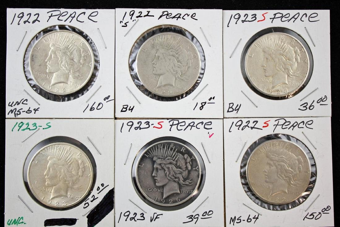6 Peace Silver Dollars P & S Mint Marks 1922 - 23