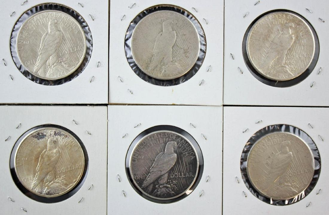 6 Peace Silver Dollars P & S Mint Marks 1922 - 23 - 4