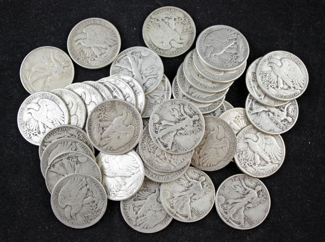 40 Walking Liberty Silver Half Dollars 1935 - 1946