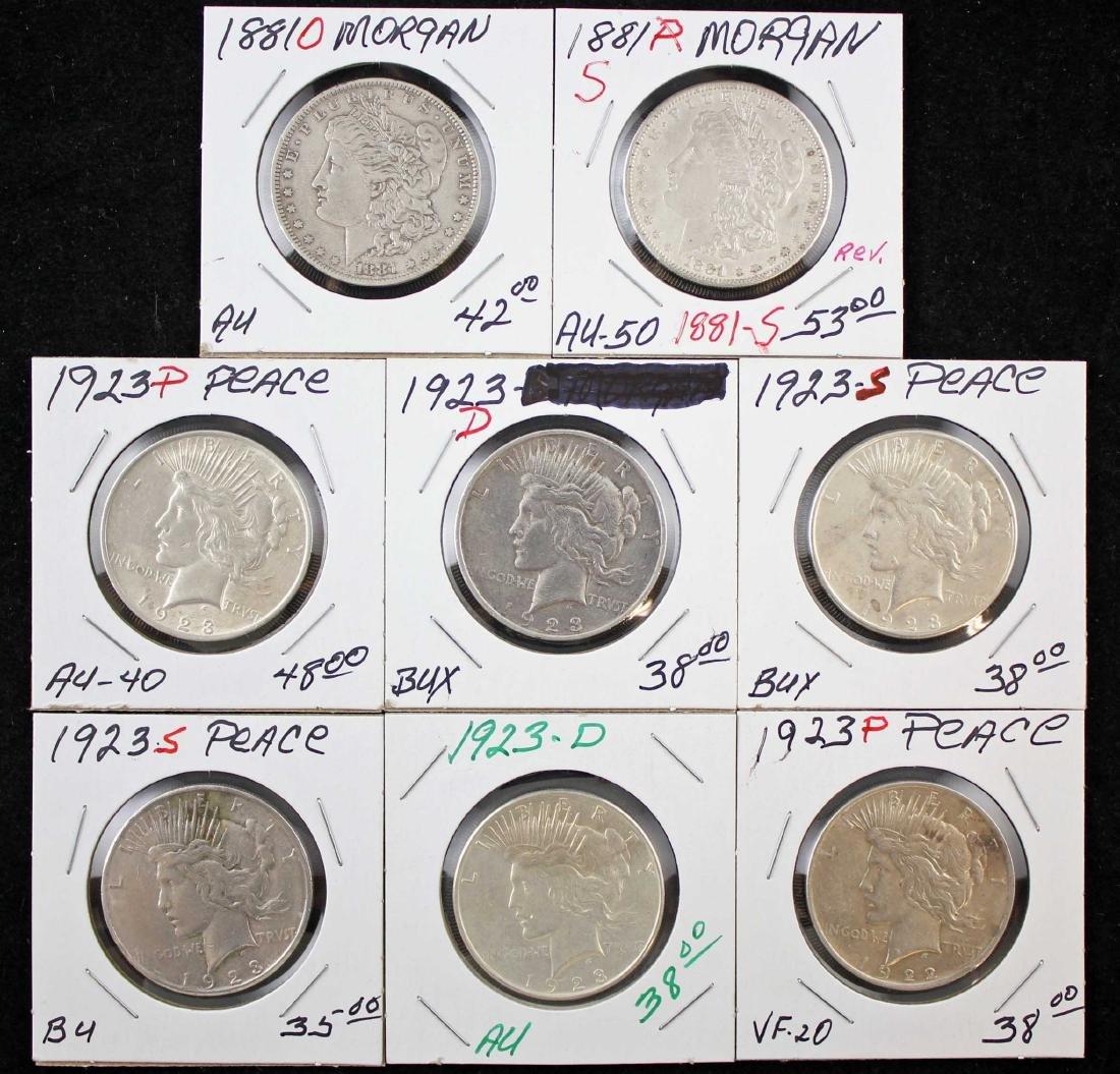 2 Morgan and 6 Peace Dollars 1881 & 1923