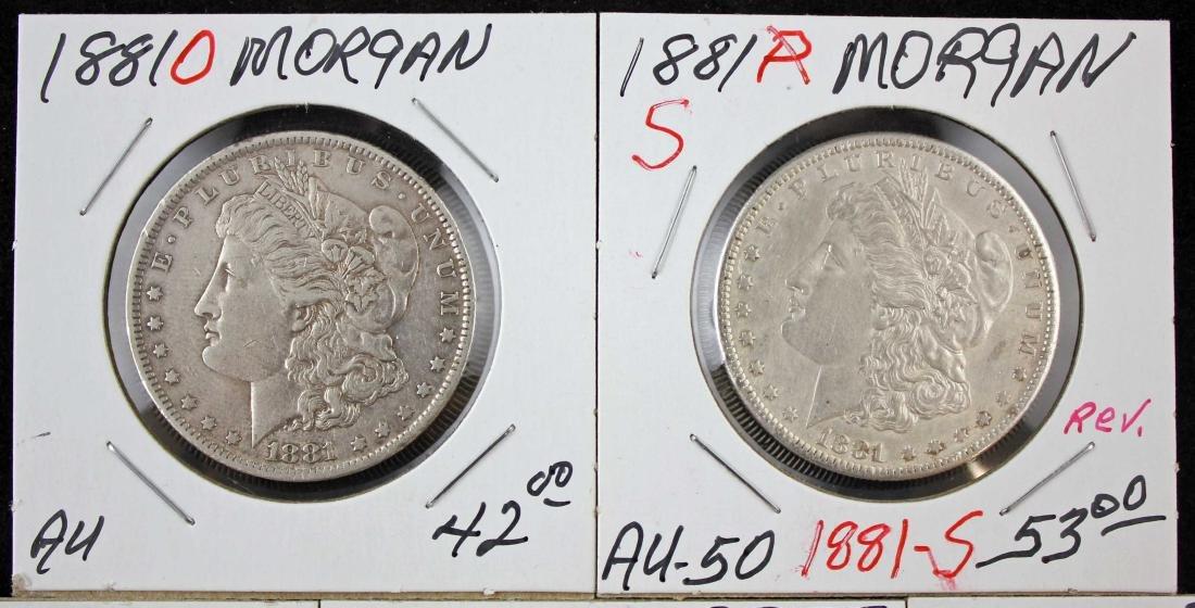 2 Morgan and 6 Peace Dollars 1881 & 1923 - 2