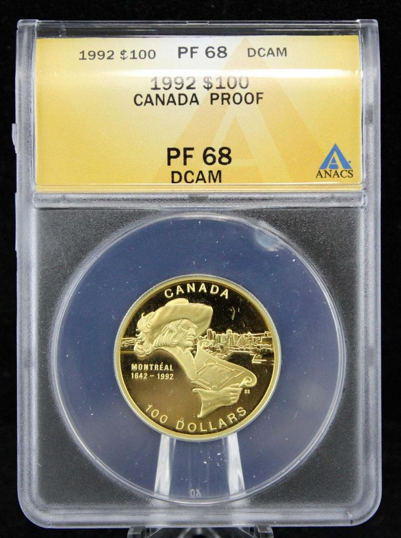1992 Canada Gold 1/4 Oz  $100 PF 68 DCAM Coin