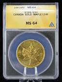1981 Canada $50 Gold Maple Leaf, ANACS MS 64