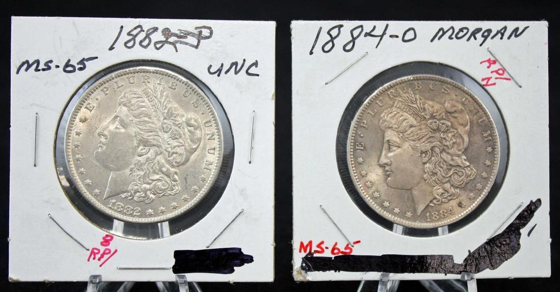 2 Morgan Silver Dollars w/ Errors 1882 P & 1884 O