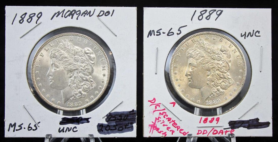 Two 1889 P Morgan Silver Dollars with Errors
