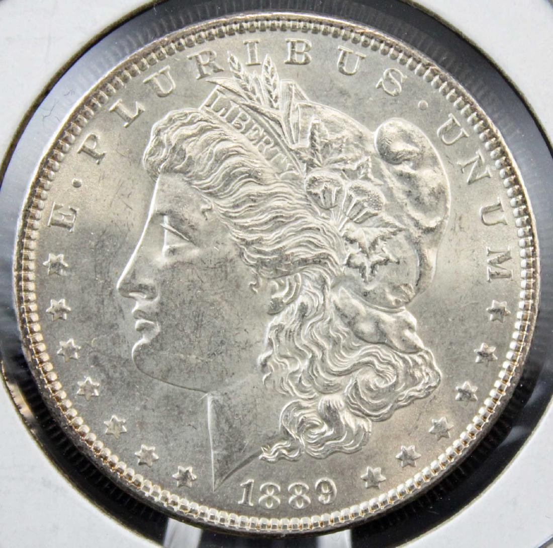 Two 1889 P Morgan Silver Dollars with Errors - 2