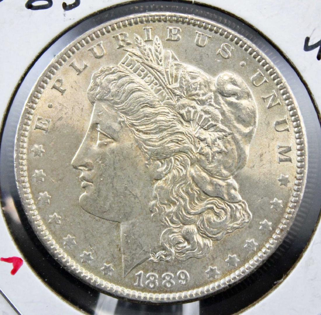 Two 1889 P Morgan Silver Dollars with Errors - 4