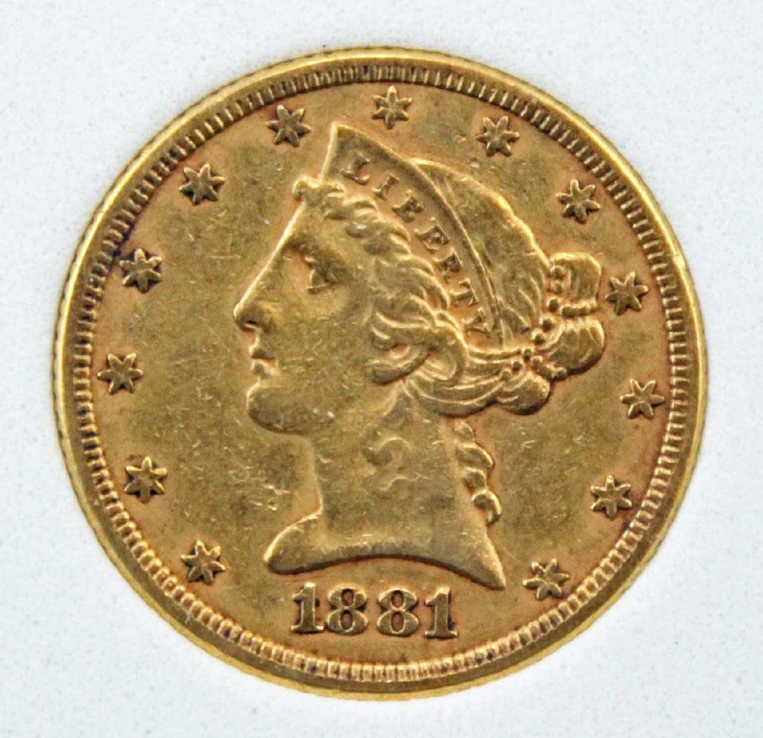 1881 Five Dollar Gold Liberty Head Coin NCGS AU 58 - 2