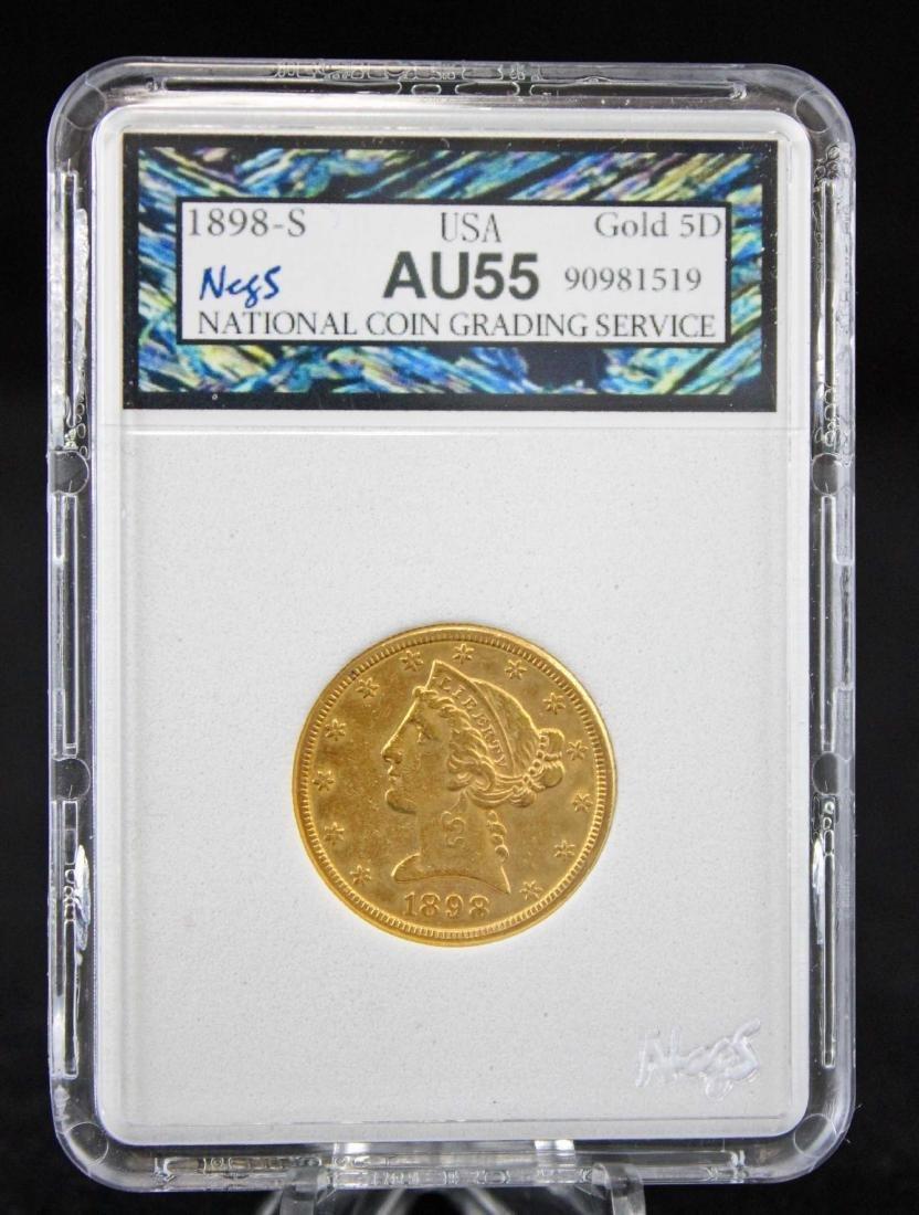 1898 S $5 Dollar Gold Liberty Head Coin NCGS AU 55