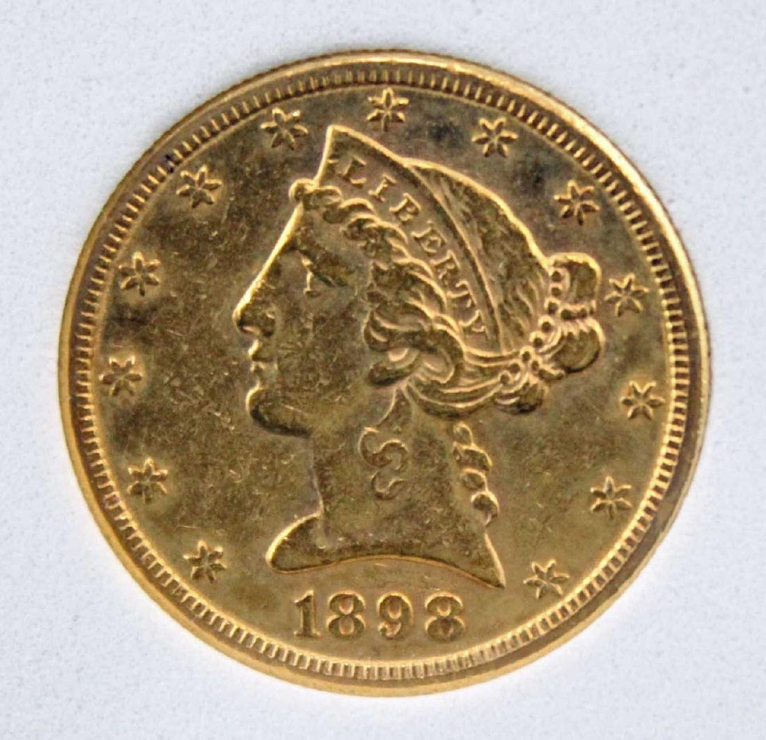 1898 S $5 Dollar Gold Liberty Head Coin NCGS AU 55 - 2