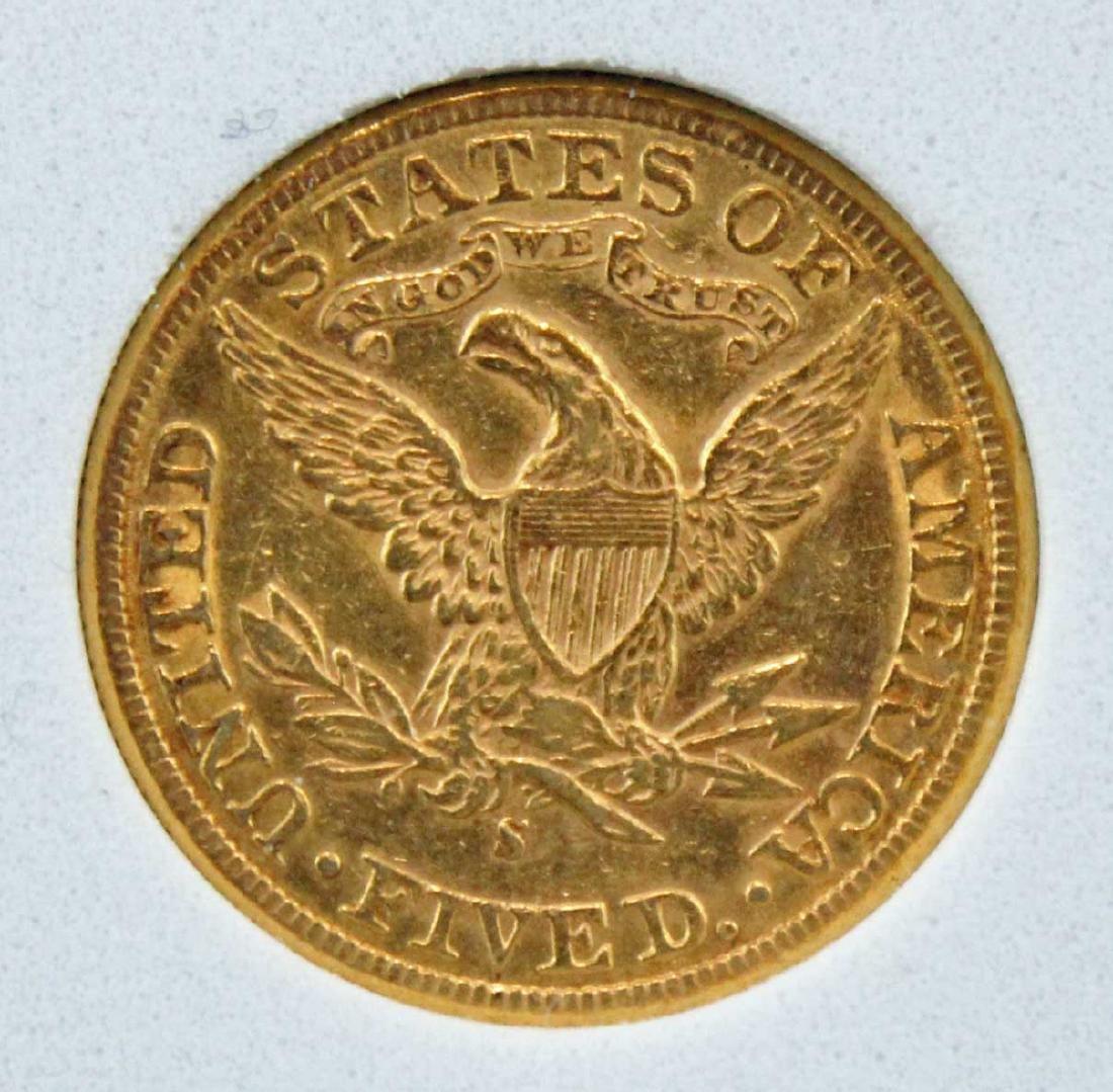1898 S $5 Dollar Gold Liberty Head Coin NCGS AU 55 - 4