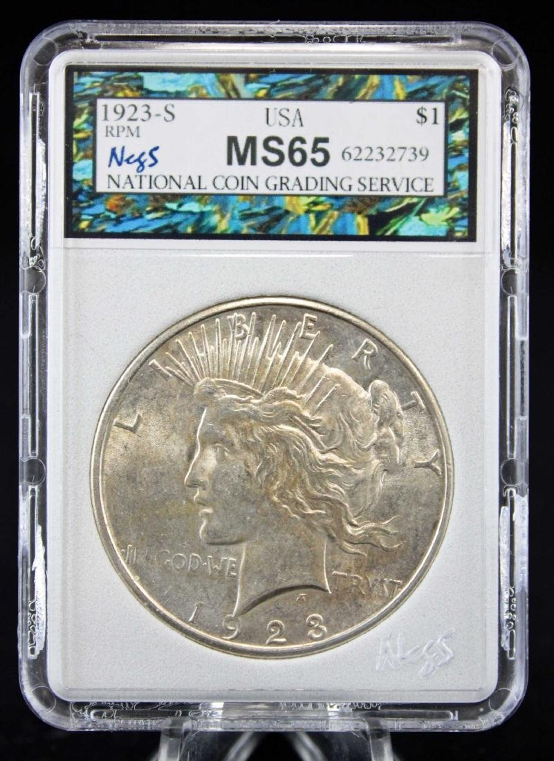 1923 S Peace Silver Dollar with Errors NCGS MS 65