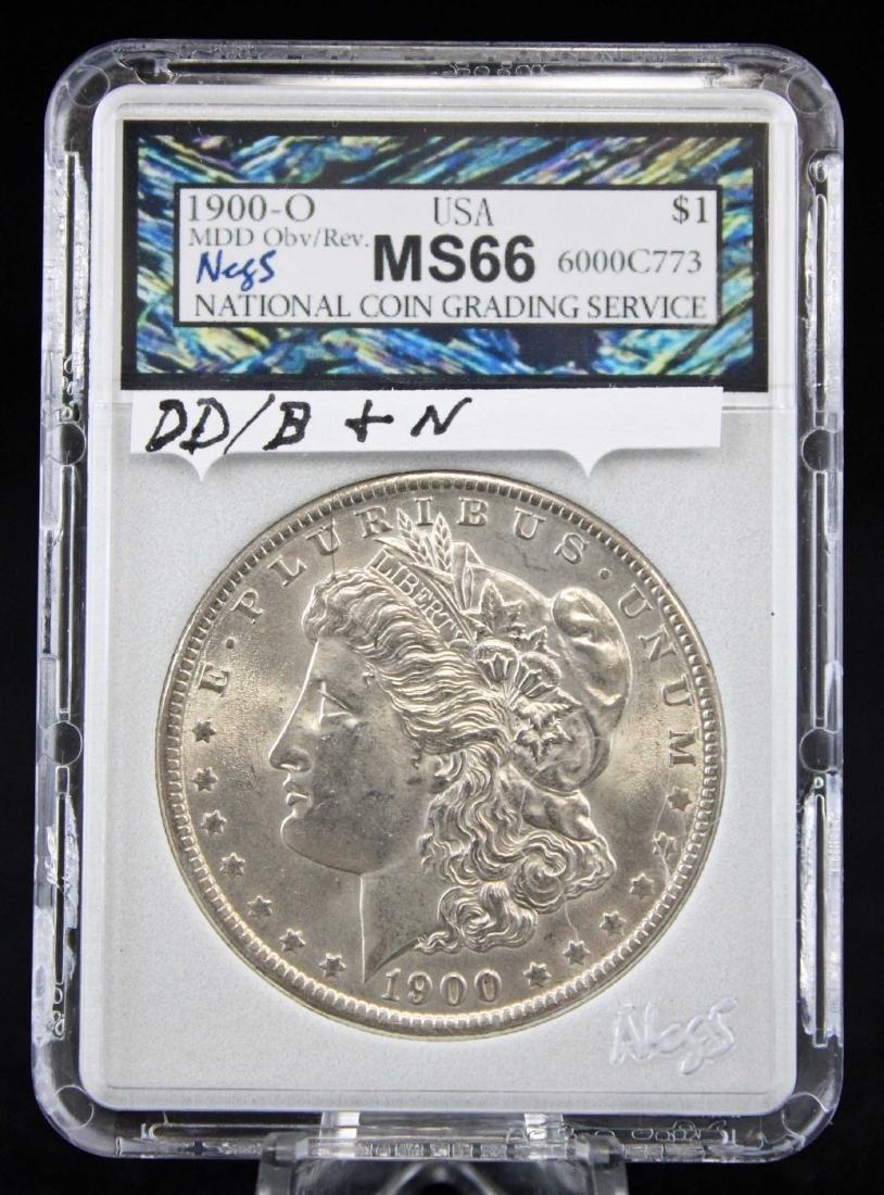 1900 O Morgan Silver Dollar with Errors NCGS MS66