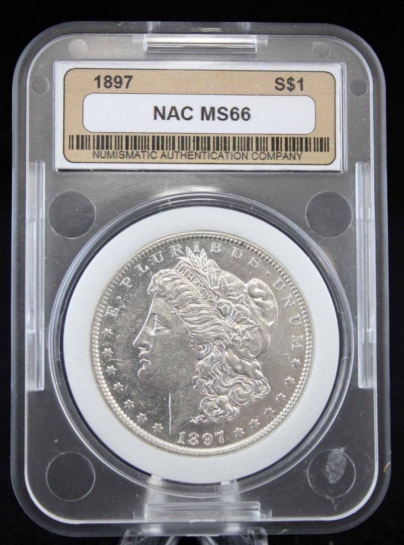 1897 Morgan Silver Dollar NAC Graded MS66