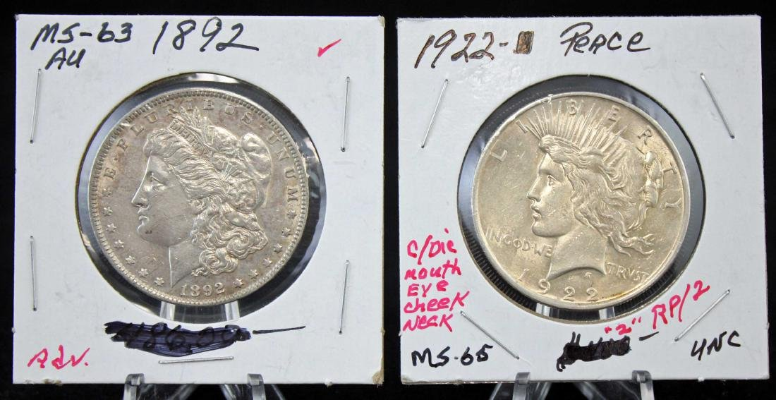 1892 P Morgan and 1922 P Peace Silver Dollars